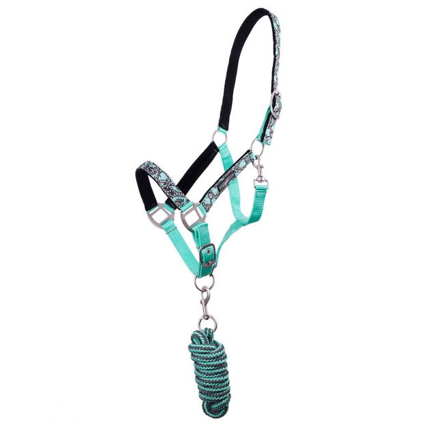 QHP Pacific Flower Nylon halter and lead