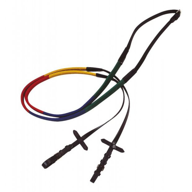 Coloured rubber reins