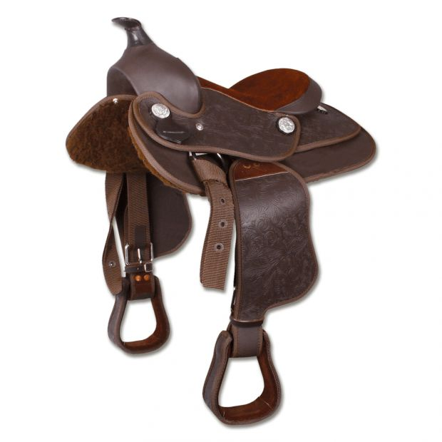 "Pony Western saddle synthetic 12"" brown"