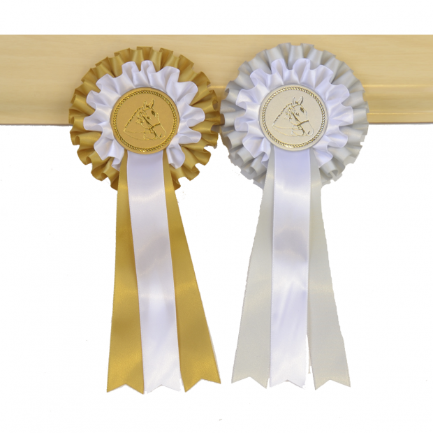 Rosette model EMT2 silver/golden bow