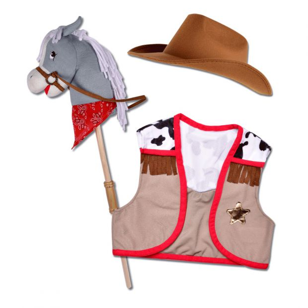 Cowboy hobby horse with west and hat